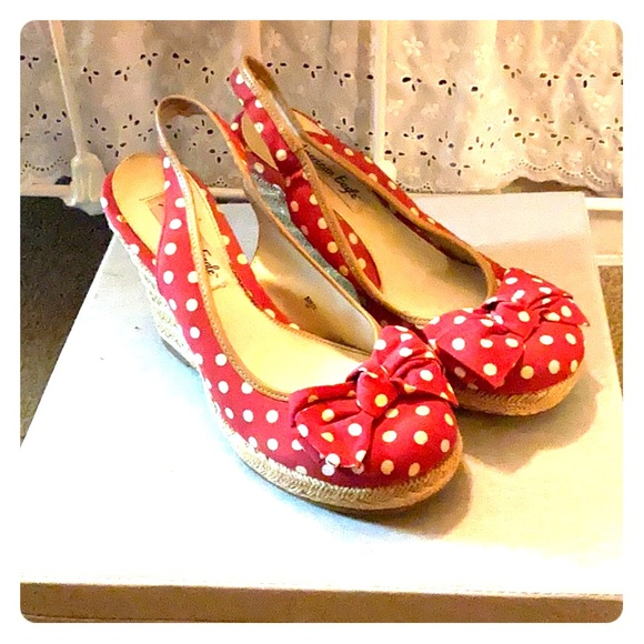 American Eagle Outfitters Shoes - Red polkadot wedges